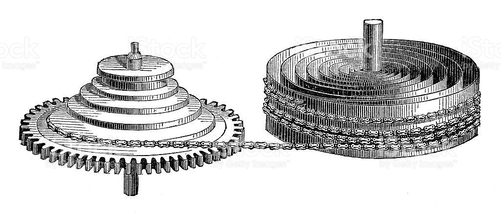 Clock Fusee And Mainspring stock vector art 545803184.
