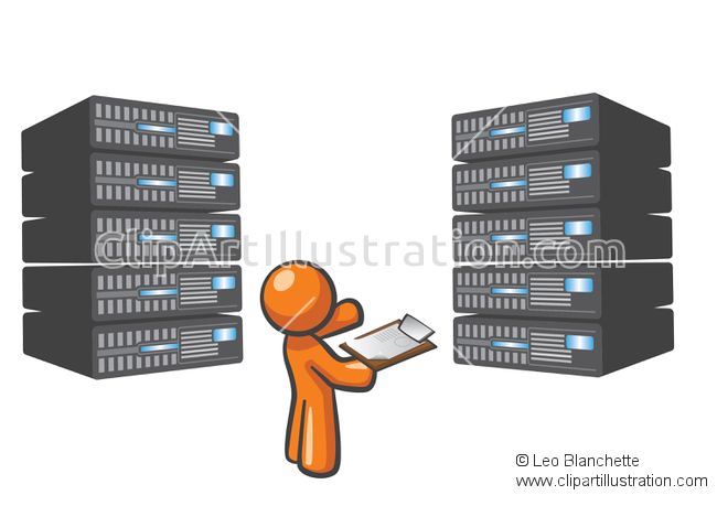 ClipArt Illustration of Server Technician Maintaining Servers.