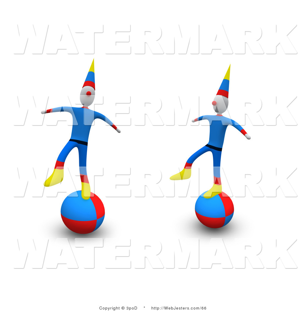 Clipart of Two Circus Clowns Maintaining Their Balance on Large.