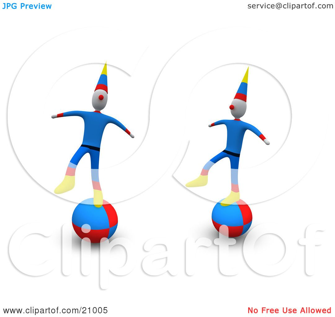 Clipart Illustration of Two Circus Clowns Maintaining Their.