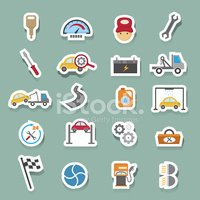 Car Service Maintenance Icons Sticker stock vectors.