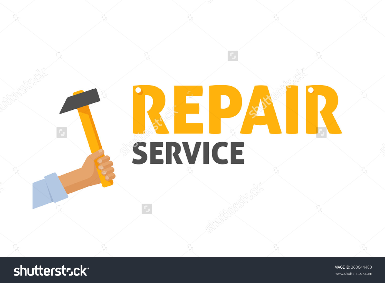 Repair Service Shop Logo Vector Illustration Stock Vector.