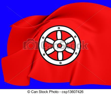 Clip Art of Electorate of Mainz Flag. Close Up. csp13607426.