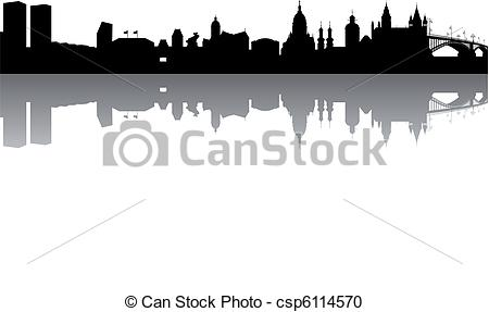 Vector Clipart of Mainz Skyline abstract on white Background.