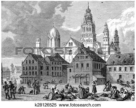 Stock Illustration of View of Mainz, vintage engraving. k28126525.