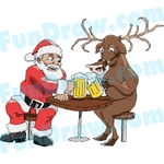 Santa Drinking Beer Clipart.
