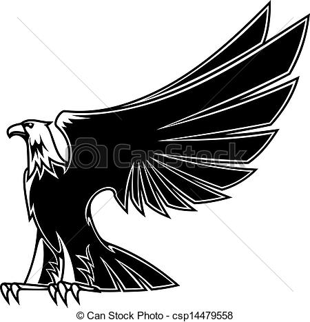 Clipart Vector of Powerful and majestic eagle for mascot, tattoo.