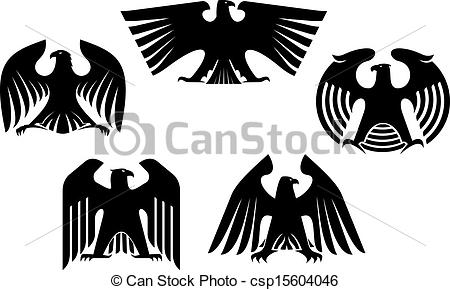 EPS Vector of Majestic and powerful heraldic eagles set for tattoo.