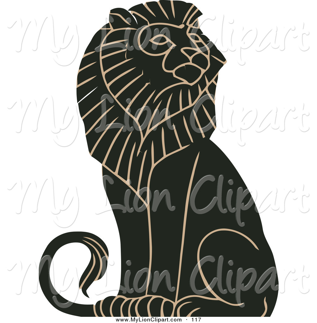 Clipart of a Black and Tan Mature Majestic Male Lion Sitting and.
