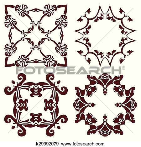 Clip Art of Set hand drawing decorative frame, silhouette in.