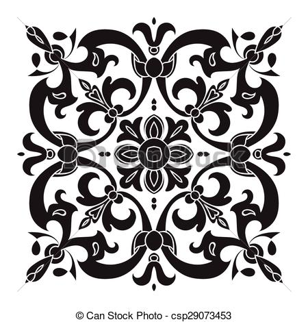 Clipart Vector of Hand drawing decorative tile pattern. Italian.
