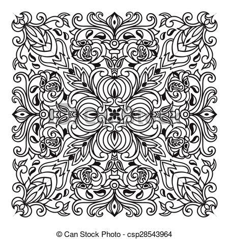 Clip Art Vector of Hand drawing zentangle mandala element. Italian.