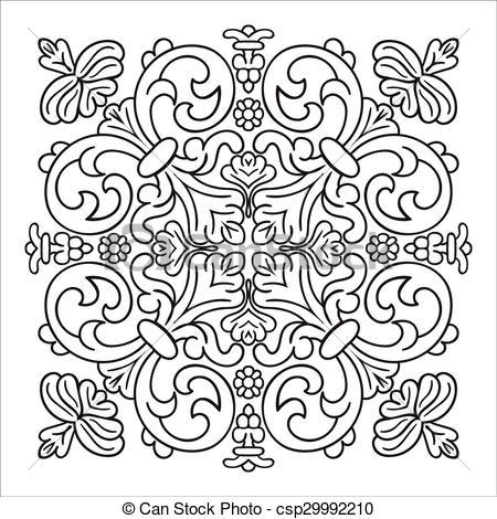 Vector Clip Art of Hand drawing zentangle mandala element. Italian.