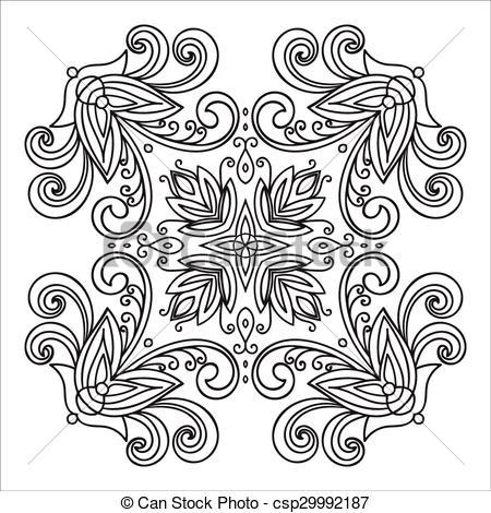 Vector of Hand drawing zentangle mandala element. Italian majolica.