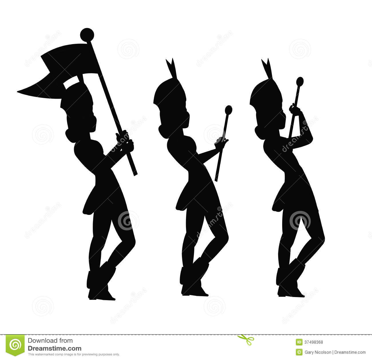 Band flag majorette clipart.