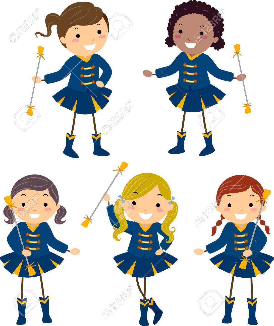 Illustration of Stickman Kids in Majorette Uniforms in Different...