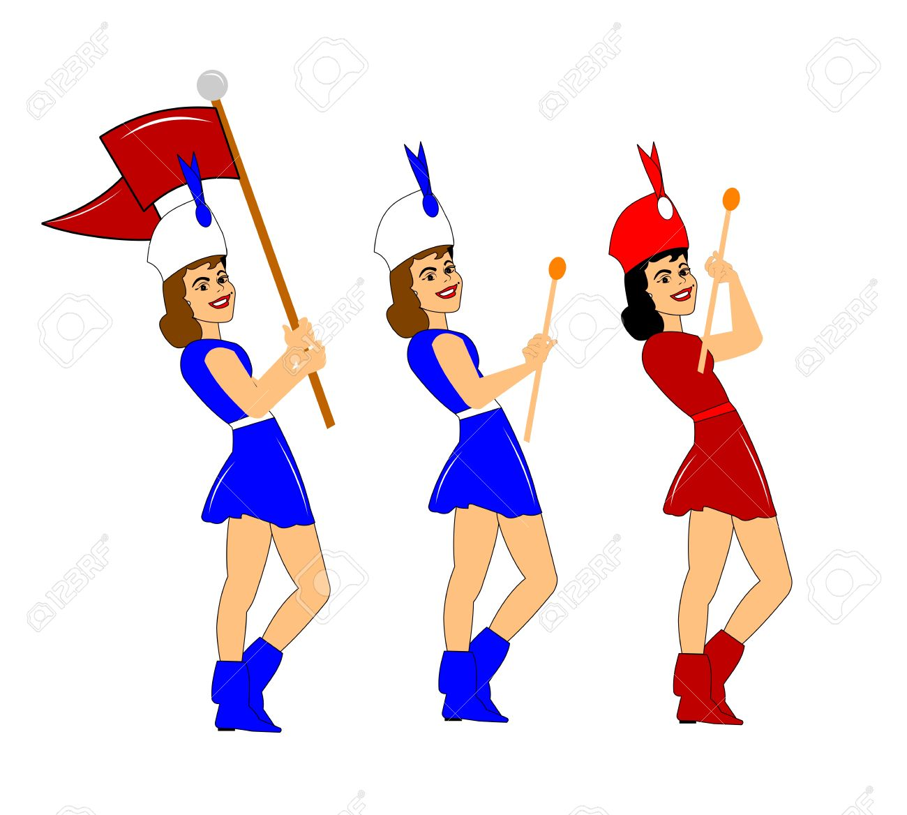 Marching Majorettes Stock Photo, Picture And Royalty Free Image.
