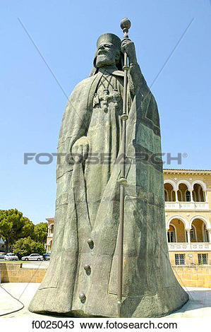 Stock Photo of Cyprus, Nicosia, statue of Archbishop Makarios III.