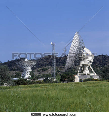Stock Images of Satellites at station on landscape, Makarios.