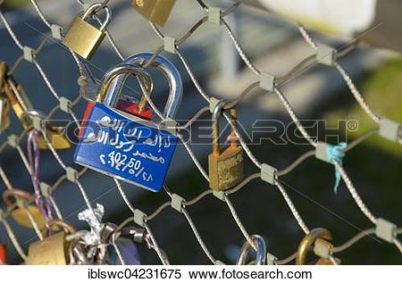 Stock Image of Love lock with Arabic inscription, Makartsteg.