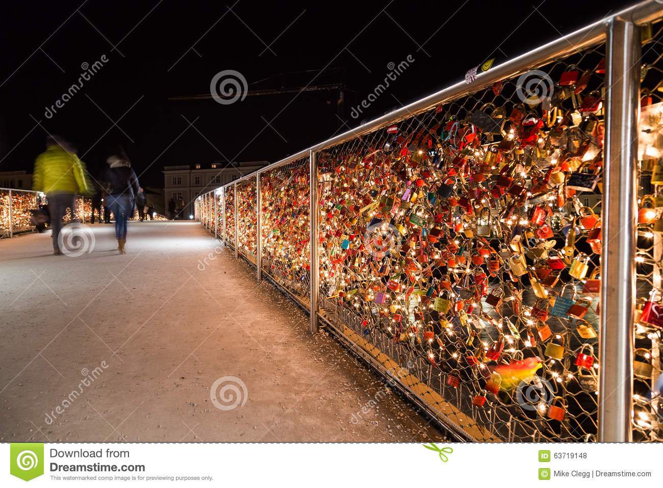 Padlocks On The Makartsteg Bridge In Salzburg At Night Editorial.