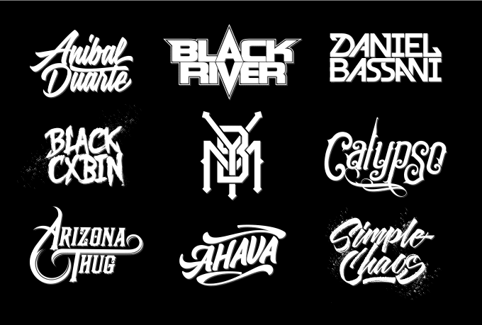 design typography logo for music, band, or dj.