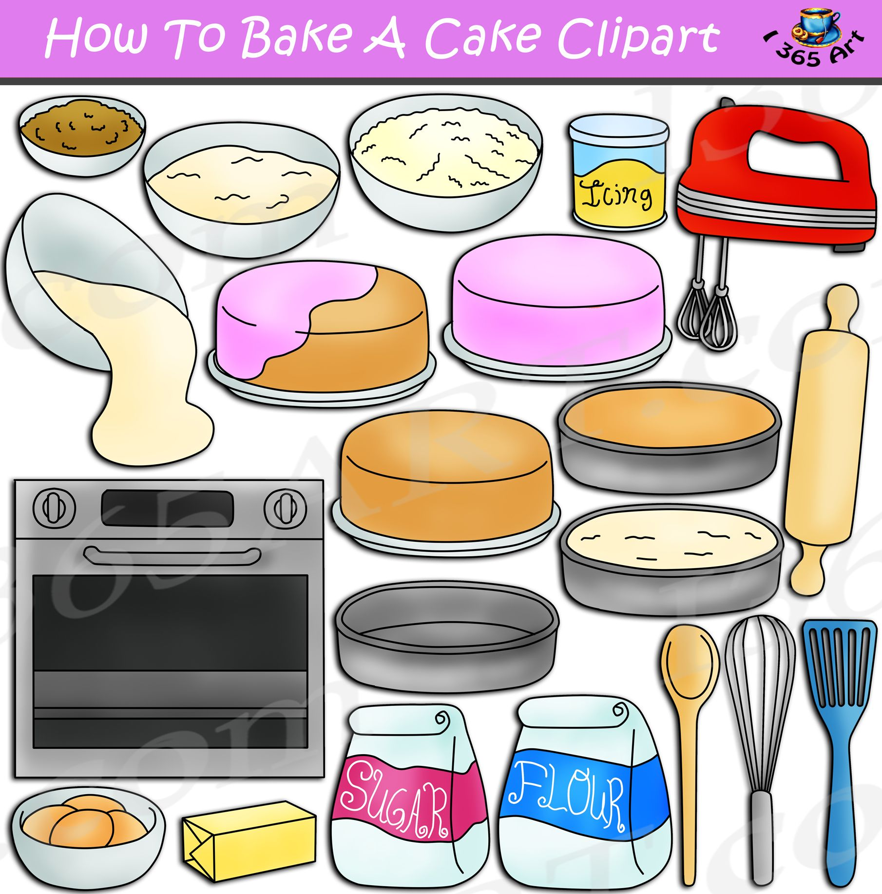 How To Bake A Cake Clipart Set Download.