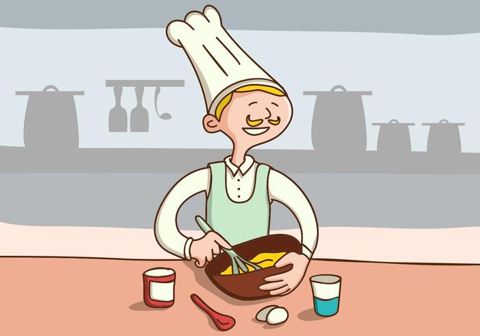 Chef Make Cake On The Kitchen.