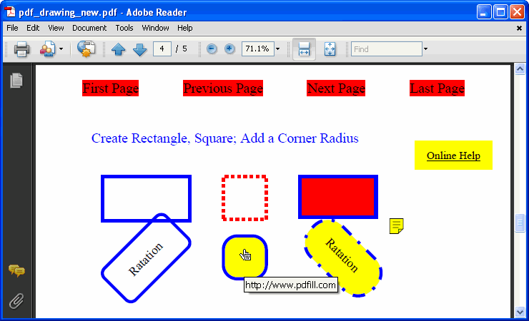 How to Draw Rectangle, Circle and Basic Shape on PDF Page.