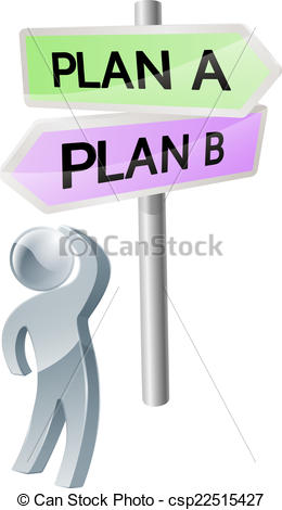 Vector Illustration of Plan A or Plan B decision.