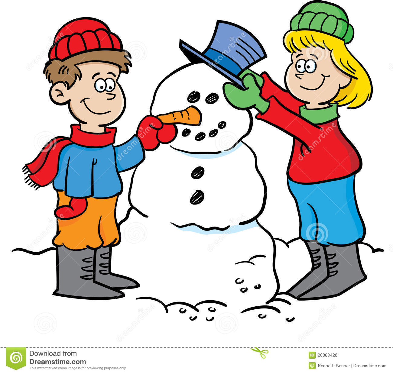 Making A Snowman Clipart.