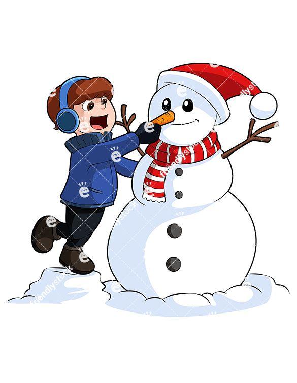 A Little Boy Making A Snowman Around Christmas.