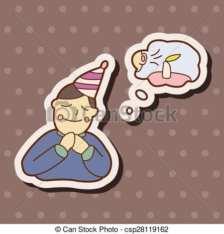 Clip Art Vector of birthday make a wish theme elements vector,eps.