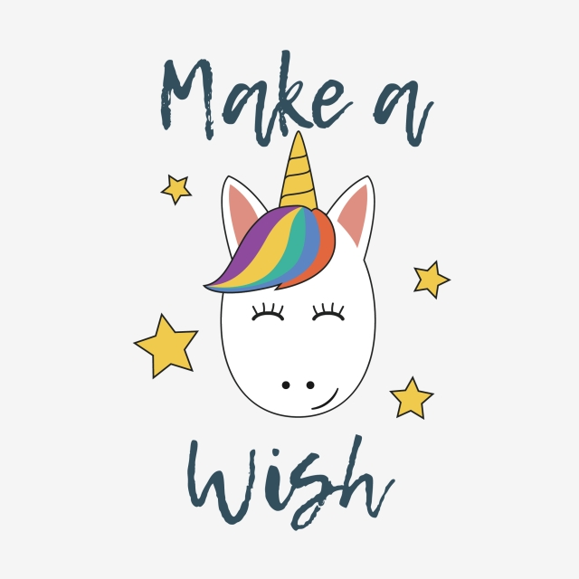 Unicorn Face With Make A Wish Typography, Unicorn, Face.