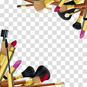 Several black makeup brushes, Cosmetics Makeup brush Make.