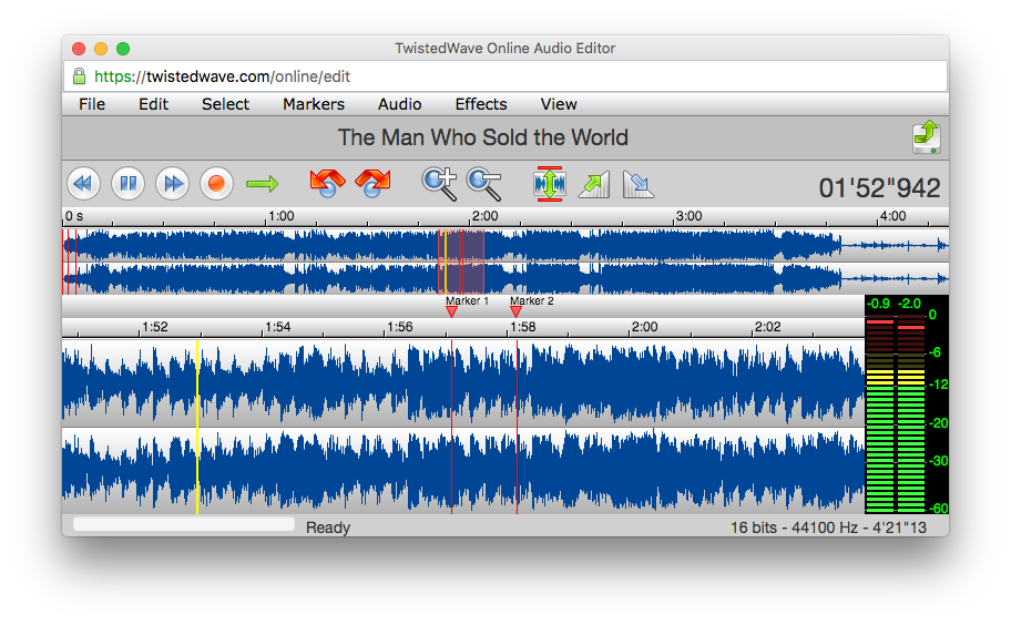 TwistedWave Online Audio Editor.