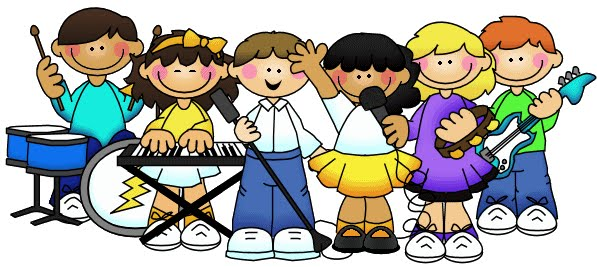 Kids making music clipart.