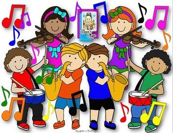 Kids making music clipart.
