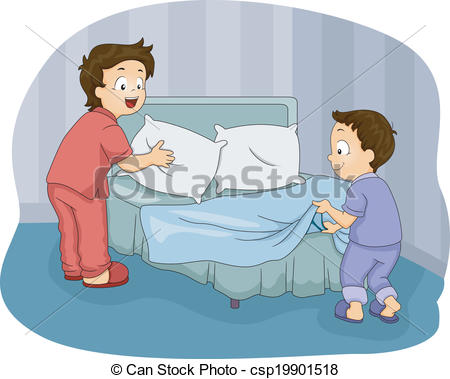 Kid Making Bed Clipart.