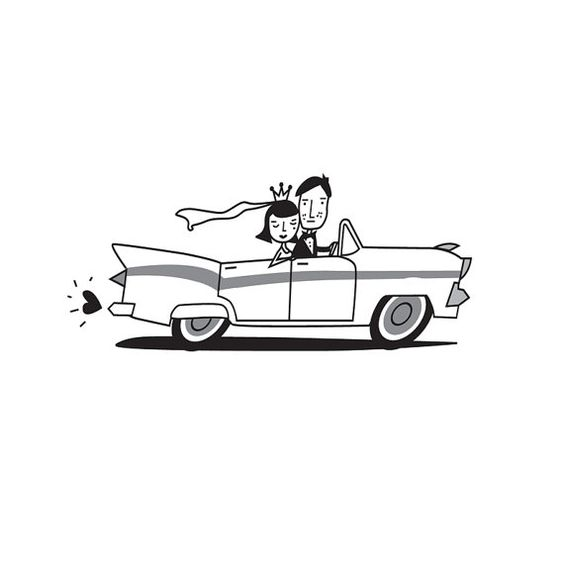 Bride and groom in wedding car illustration, wedding, wedding.