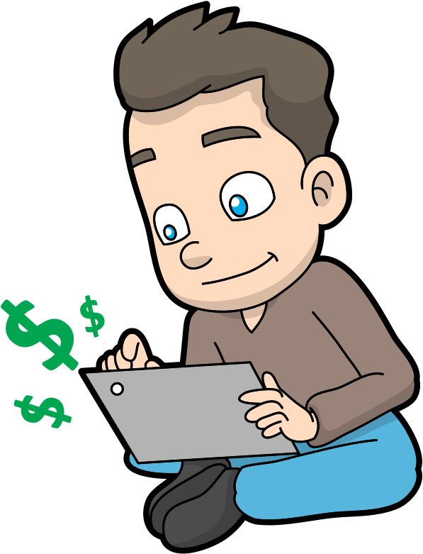 HD Cartoon Guy Making Money Online.