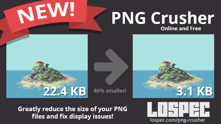 New Lospec Tool, the PNG Crusher! Make your PNG files.