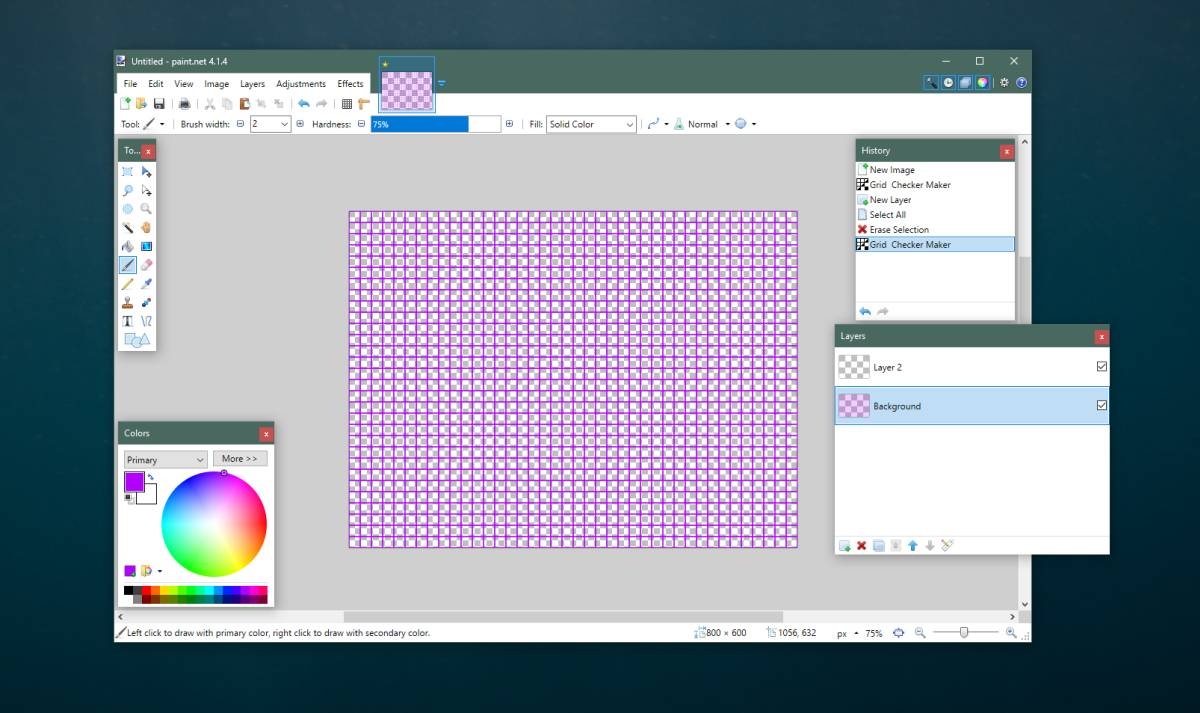 How to create a custom grid in Paint.net on Windows 10.