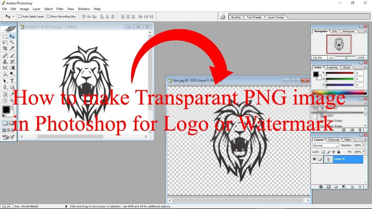 How to make transparent PNG watermark in Photoshop.