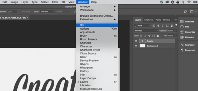 Turn 2D objects and text into 3D with Photoshop.