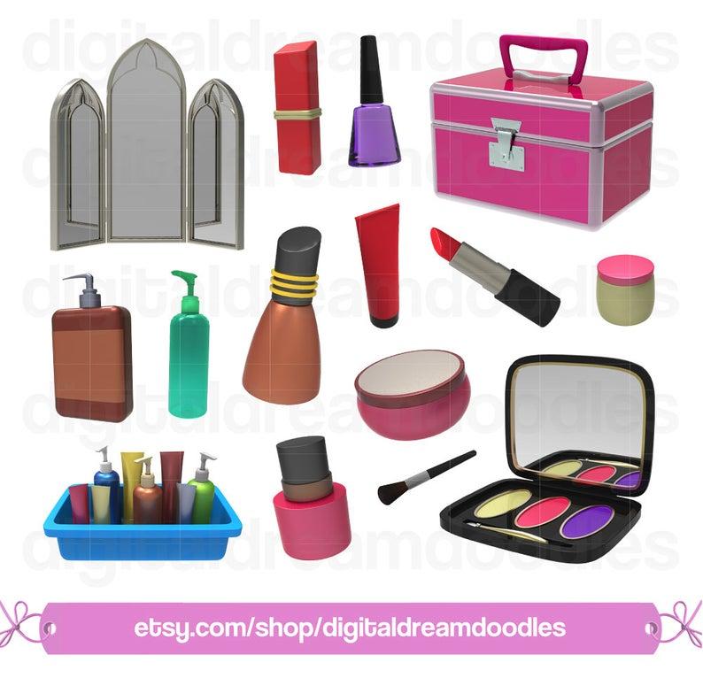 Makeup Clipart, Make Up Clip Art, Cosmetics PNG, Beauty Set Image, Compact  Mirror Graphic, Nail Polish, Lipstick, Blush, Digital Download.