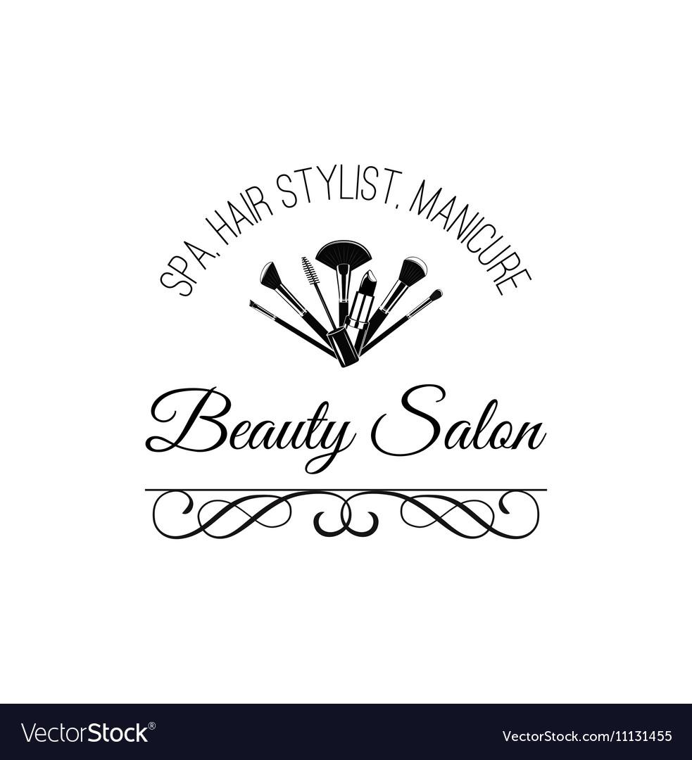 Beauty Salon Badge Makeup Brushes Logo Filigree.