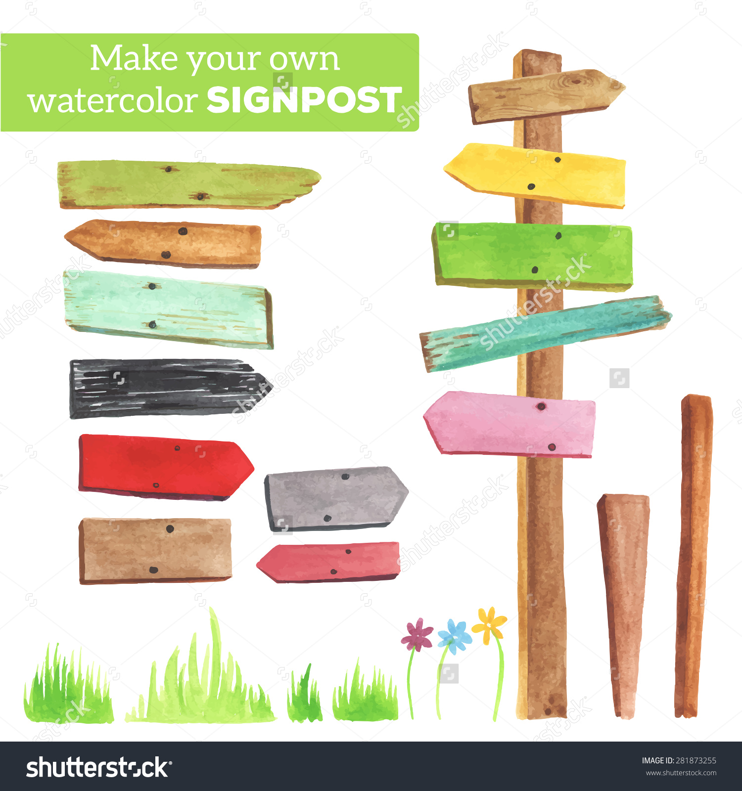 Make Your Own Signpost Various Empty Stock Vector 281873255.