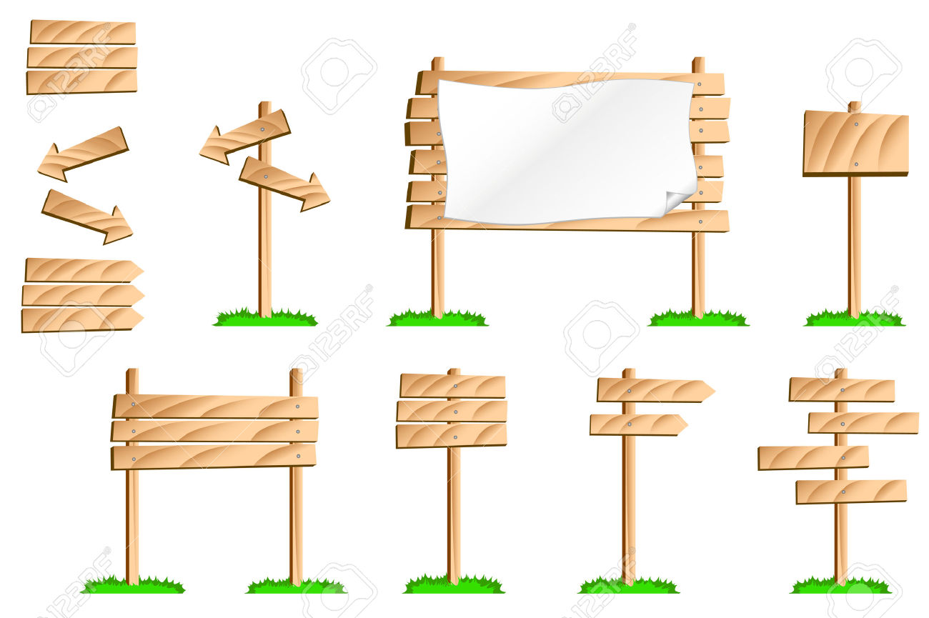 A Colourful Illustration Of A Set Of Wooden Signs. Use The Pieces.