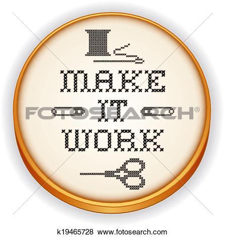Clip Art of Embroidery, Make it Work, wood hoop k19465728.